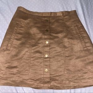 suede brown h&m skirt
